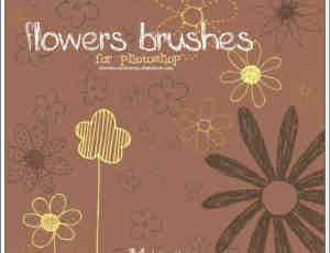 可爱的手绘线条花纹笔刷