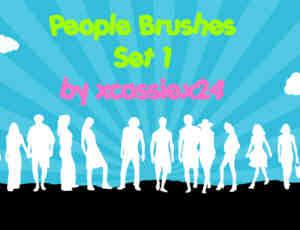 24个不同站立姿势的人物矢量笔刷