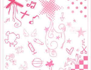 可爱的卡通涂鸦装饰笔刷