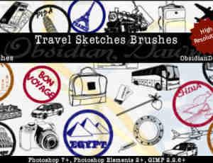 旅行标志符号元素笔刷