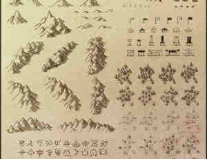 粗糙的游戏地图元素笔刷