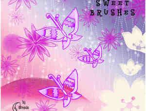 花纹蝴蝶甜蜜背景图案PS笔刷