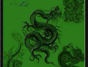 中国龙纹笔刷
