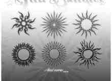 各式的太阳徽章花纹笔刷