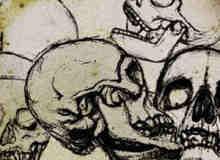 手绘素描式骷髅头笔刷