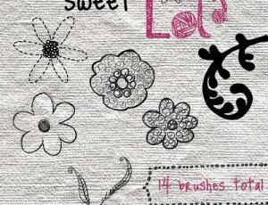 14种可爱漂亮的手绘线条花纹笔刷