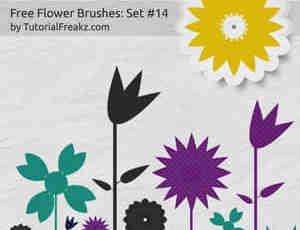 可爱卡通型花朵笔刷