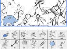 手绘涂鸦小象爱心装饰笔刷