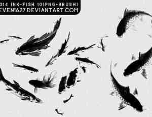 水墨画样式鱼笔刷