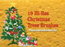 19款不同样式的卡通圣诞树笔刷