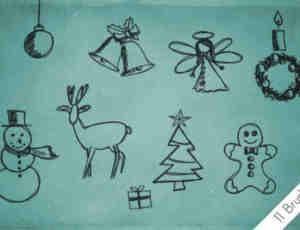 可爱的圣诞节手绘卡通图案笔刷