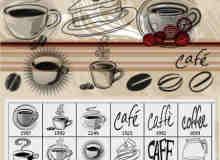 24个矢量高清手绘线条咖啡杯笔刷