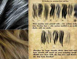 精彩手绘式毛发效果笔刷