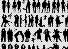 40个情人节人体剪影笔刷