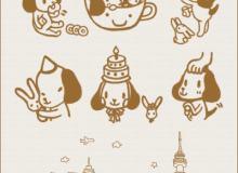 可爱的卡通小狗笔刷