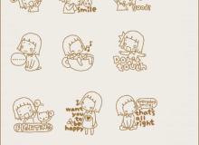 可爱的卡通线条女孩笔刷
