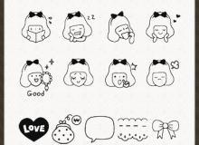 卡通小女孩涂鸦笔刷