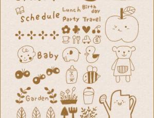 可爱系列卡通涂鸦笔刷3