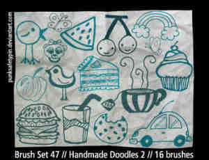 手绘面包食物生活元素装饰笔刷