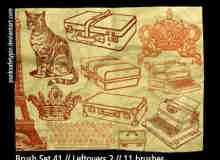 手绘猫咪箱包老式打字机笔刷