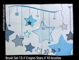 蜡笔式手绘小星星笔刷