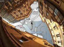 建筑照片空白处涂鸦艺术创作