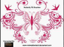 漂亮高贵的蝴蝶花纹笔刷
