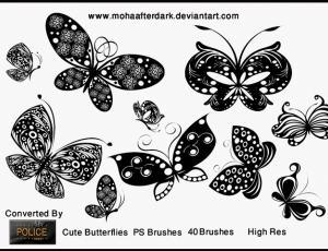 漂亮的矢量蝴蝶花纹笔刷
