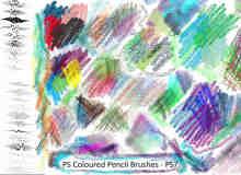 彩色蜡笔笔触材质笔刷