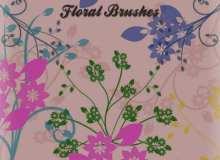 一套漂亮的矢量枝条花卉花纹笔刷