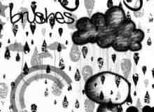 卡通小雨人照片装饰笔刷