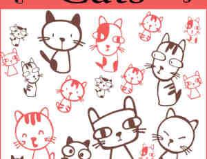 10个可爱无比的卡通猫咪PS笔刷打包下载