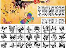 蝴蝶花纹和非主流花纹边框装饰笔刷