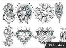 漂亮的手绘式繁复的花纹笔刷