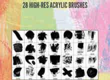 28种油画刷子、油漆涂鸦、丙烯画笔刷