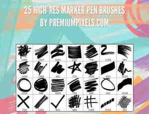 25种水彩涂鸦划线笔刷