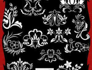 高贵的欧式植物花纹装饰PS笔刷