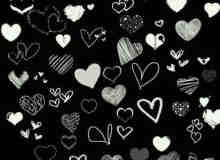 各种手绘心形、爱心涂鸦效果PS笔刷下载