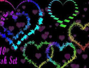 10种亮色花形爱情爱心PS笔刷