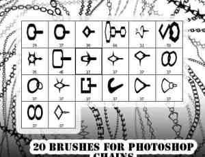 20种铁链、链子效果PS笔刷