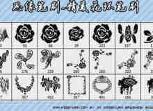 精美的玫瑰花、花环、花纹PS笔刷