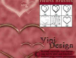 金属发光式爱情心形PS笔刷