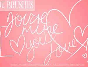 漂亮的手绘爱情英文字体书写PS笔刷