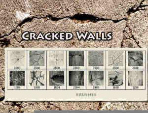 土地墙壁岁月裂痕纹理ps笔刷