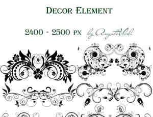 15种高分辨植物花纹徽章纹饰PS笔刷