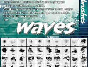 Rons 出品的高清晰美丽海浪水浪浪花PS笔刷