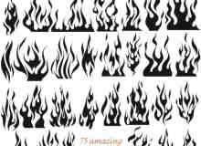 75种火焰纹身、火苗纹饰PS笔刷素材下载