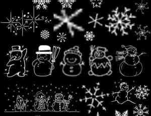 4个可爱的卡通雪花效果PS笔刷打包下载