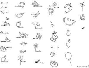 韩国卡哇伊的水果涂鸦照片装饰PS笔刷