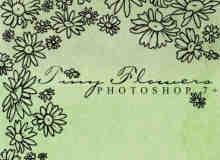 漂亮手绘向日葵花纹图案PS笔刷